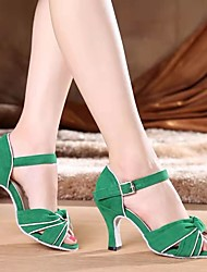 cheap -Women's Latin Shoes Professional Bows Solid Color High Heel Open Toe Green Buckle Ankle Strap Adults' Party Collections / Performance / Leather
