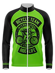 cheap -21Grams Men's Long Sleeve Cycling Jersey Spandex Green Bike Top Mountain Bike MTB Road Bike Cycling Quick Dry Moisture Wicking Sports Clothing Apparel / Athleisure