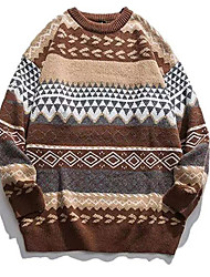 cheap -Women's Pullover Sweater Jumper Knitted Argyle Stylish Ethnic Style Vintage Style Long Sleeve Sweater Cardigans Crew Neck Fall Winter Yellow Wine Gray