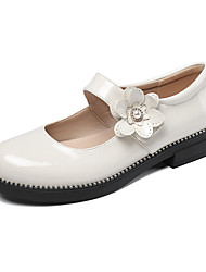 cheap -Girls' Flats Mary Jane School Shoes Patent Leather Big Kids(7years +) Wedding Daily Buckle Crystals / Rhinestones Burgundy Black Beige Fall Spring / Rubber
