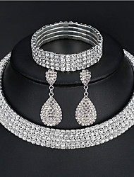 cheap -Women's Jewelry Set Bracelet Bangles Drop Earrings Wedding Elegant Iced Out Imitation Diamond Earrings Jewelry 2 Rows / 3 Rows / 4 Rows For Party Wedding Prom / Choker Necklace