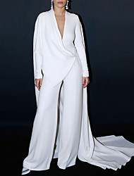 cheap -Jumpsuits Celebrity Style Elegant Engagement Formal Evening Dress V Neck Long Sleeve Court Train Stretch Fabric with Solid Tail 2021