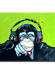 cheap -Oil Painting Handmade Hand Painted Wall Art Modern Cool Gorilla with Headphones Abstract Animal Home Decoration Decor Rolled Canvas No Frame Unstretched