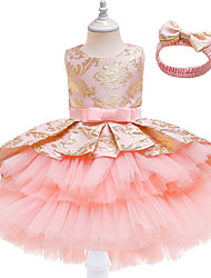 cheap -Kids Little Girls' Dress Patchwork A Line Dress Party Wedding Embroidered Ruched Purple Blushing Pink Wine Knee-length Sleeveless Princess Sweet Dresses New Year Fall Spring Slim 3-12 Years