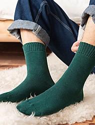 cheap -Fashion Men's Socks Solid Colored Socks Warm Casual Yellow 1 Pair