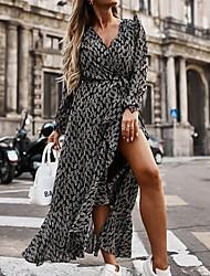 cheap -Women's A Line Dress Midi Dress Black Long Sleeve Floral Print Split Lace up Print Fall Winter V Neck Casual 2021 S M L XL XXL 3XL
