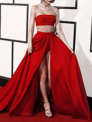 cheap -A-Line Celebrity Style Sexy Engagement Formal Evening Dress Strapless Sleeveless Chapel Train Satin with Split Solid 2021