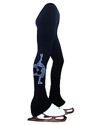 cheap -Figure Skating Pants Women's Girls' Ice Skating Tights Leggings Black Fleece Spandex High Elasticity Training Practice Competition Skating Wear Thermal Warm Handmade Crystal / Rhinestone Ice Skating