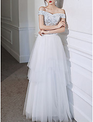 cheap -A-Line Sparkle Elegant Prom Formal Evening Dress Off Shoulder Short Sleeve Floor Length Tulle with Sequin 2021