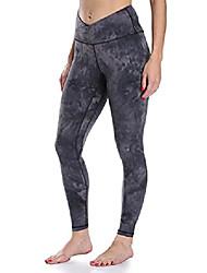 cheap -women's cross waist leggings full length yoga pants (xs, black & grey mixed tie dye)