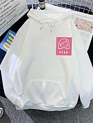 cheap -Women's Plus Size Tops Hoodie Sweatshirt Cartoon Drawstring Pocket Long Sleeve V Neck Streetwear Daily Weekend Polyster Fall Winter Purple Yellow / Print