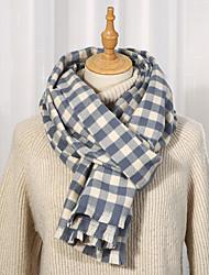 cheap -Women's Shawls & Wraps Christmas Black Scarf Plaid Basic White Blue Pink Fall