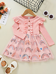 cheap -Toddler Little Girls' Dress Rainbow A Line Dress Daily Holiday Mesh Print Blushing Pink Knee-length Long Sleeve Casual Cute Dresses Fall Winter Regular Fit 1-5 Years