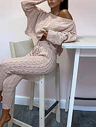 cheap -Women's Breathable Loungewear Sets Home Street Daily Going out Basic Elastic Waist Pure Color Polyester Simple Fashion Sport Sweater Pant Fall Winter Crew Neck Long Sleeve Long Pant Not Specified