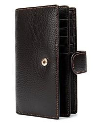 cheap -Men's Bags Nappa Leather Cowhide Wallet Zipper Daily Baguette Bag Black Coffee