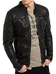cheap -mens slim genuine lambskin leather designer motorcycle jacket lf642 - xl