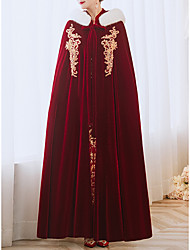 cheap -Long Sleeve Bridal Velvet Wedding / Engagement Party Women's Wrap With Embroidery