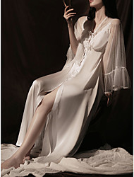 cheap -Sheath / Column Wedding Dresses V Neck Ankle Length Lace Satin Tulle Long Sleeve Vintage Sexy with Appliques 2021