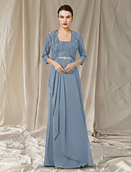 cheap -Two Piece A-Line Mother of the Bride Dress Elegant Scoop Neck Floor Length Chiffon Lace Sleeveless with Pleats Crystal Brooch 2021