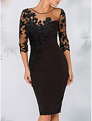 cheap -Sheath / Column Elegant Wedding Guest Party / Cocktail Dress Illusion Neck 3/4 Length Sleeve Above Knee Knee Length Short / Mini Polyester with Appliques 2021