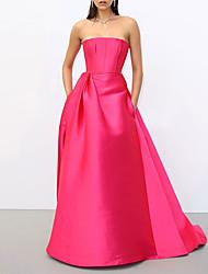 cheap -A-Line Celebrity Style Elegant Engagement Formal Evening Dress Strapless Sleeveless Floor Length Satin with Sleek 2021