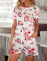cheap -Women's Breathable Suits Pajamas Home Daily Bed Print Flower Polyester Simple Shorts Summer Crew Neck Short Sleeve Short Pant Not Specified