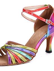 cheap -Women's Latin Shoes Professional Heel Pattern / Print Slim High Heel Open Toe Rainbow Buckle Adults' Party Heels