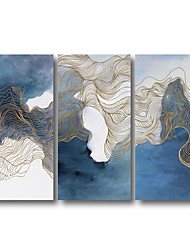 cheap -Stretched Canvas Print Painting Large Modern Abstract Wall Art Deco Three Panels Blue Golden Lines Ready to Hang