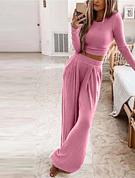 cheap -Women's Breathable Loungewear Sets Home Street Going out Airport Basic Elastic Waist Pure Color Cotton Blend Simple Fashion Soft Sport Crop Top Pant Fall Winter Crew Neck Long Sleeve Long Pant Not