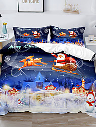cheap -Duvet Cover Set Happy Merry Chirstmas Greetings Pumpkins Skull Bones Bats Pennant Image Decorative 2/3 Piece Bedding Set with 1 or 2 Pillowcase(Single Twin  only 1pcs)