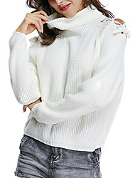 cheap -Women's Pullover Sweater Jumper Knitted Hole Solid Color Stylish Basic Casual Long Sleeve Sweater Cardigans Turtleneck Fall Winter White