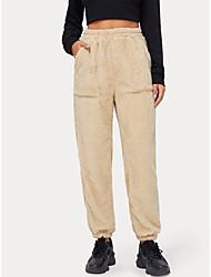 cheap -Women's Casual Soft Pants Going out Pants Plain Full Length Apricot