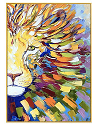 cheap -Oil Painting Handmade Hand Painted Wall Art Modern Animal Lion Abstract Home Decoration Decor Stretched Frame Ready to Hang