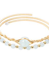 cheap -Women's Moonstone Wrap Bracelet Hologram Bracelet Bracelet Classic Mini Simple Luxury Classic Copper Bracelet Jewelry Grey / Coral / Blue For Gift Daily Club