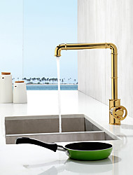 cheap -Black/Golden Kitchen Sink Faucet High Arc Single Hole Bar Sink Faucet 360 Rotatable Commercial Brass Body Kitchen Faucet Industrial Style
