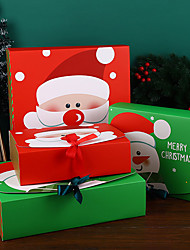 cheap -2pcs Square Merry Christmas Paper Packaging Box Packaging Bag Santa Claus Gift Box Happy New Year Chocolate Candy Box