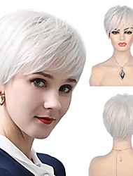 cheap -short cream white wigs for women synthetic natural party cosplay pixie wig with wig cap
