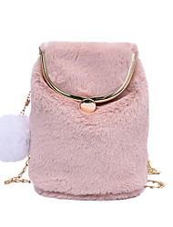 cheap -Women's Bags Faux Fur Synthetic Coin Purse Crossbody Bag Buttons Chain Plain Solid Color Daily Outdoor Evening Bag Chain Bag Blushing Pink Gray Khaki White