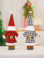 cheap -christmas decorations red and black plaid wine bottle cover red wine bottle old man clothes + hat wine bottle dress up