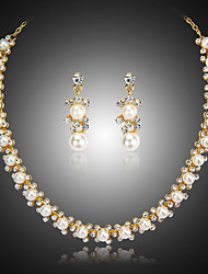 cheap -Women's Bridal Jewelry Sets Geometrical Precious Fashion Imitation Pearl Gold Plated Earrings Jewelry Gold For Christmas Party Wedding Gift Festival 1 set