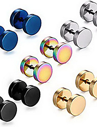 cheap -Men's Stud Earrings flat back Stainless Steel Earrings Jewelry Rainbow / Silver / Gold For Party Wedding Office / Career Dailywear Masquerade Engagement Party