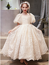 cheap -Princess Ankle Length Flower Girl Dresses Party Tulle Short Sleeve Jewel Neck with Appliques
