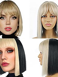 cheap -short bob wigs with bangs straight black with blonde strips wig heat resistant synthetic wig with air bangs hair wig for women ,middle part black mixed blonde wig for daily party use