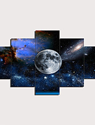 cheap -5 Panels Wall Art Canvas Prints Painting Artwork Picture Moon Painting Home Decoration Decor Rolled Canvas No Frame Unframed Unstretched