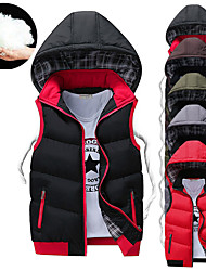 cheap -Men's Hoodie Jacket Quilted Puffer Vest Down Vest Down Winter Outdoor Thermal Warm Windproof Lightweight Breathable Winter Jacket Trench Coat Top Skiing Fishing Climbing ArmyGreen Space gray China