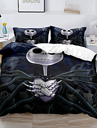 cheap -Skull Christmas Printed 3-Piece Duvet Cover Set Hotel Bedding Sets Comforter Cover with Soft Lightweight Microfiber, Include 1 Duvet Cover, 2 Pillowcases for Double/Queen/King(1 Pillowcase for Twin/Single)