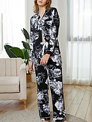 cheap -Women's Breathable Pajamas Sets Home Street Daily Going out Basic Elastic Waist Flower Cotton Simple Fashion Sport Shirt Pant Fall Winter Lapel Long Sleeve Long Pant Buckle Pocket