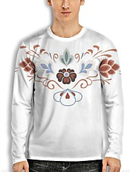 cheap -Men's Tee T shirt 3D Print Floral Graphic 3D Print Long Sleeve Casual Regular Fit Tops Simple Casual Fashion Designer White