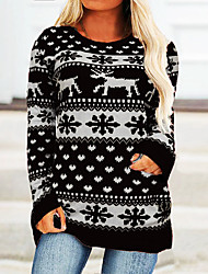 cheap -Women's Plus Size Tops Blouse Shirt Floral Deer Long Sleeve Crewneck Streetwear Festival Christmas Daily Cotton Fall Yellow Gray
