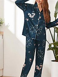 cheap -Women's Breathable Pajamas Sets Home Daily Vacation Elastic Waist Button Print Stripe Leopard Flower Polyester Simple Fashion Sweet Pant Fall Lapel Long Sleeve Long Pant Not Specified